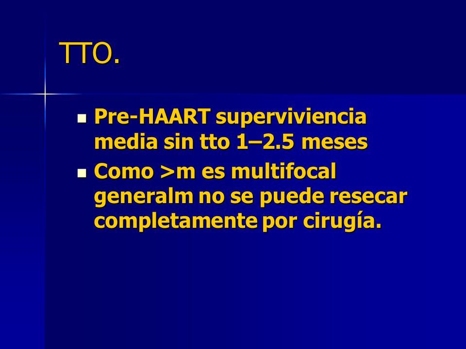 TTO. Pre-HAART superviviencia media sin tto 1–2.5 meses Pre-HAART superviviencia media sin tto 1–2.5 meses Como >m es multifocal generalm no se puede