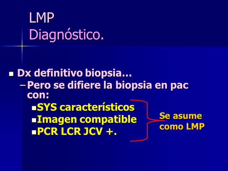 LMP Diagnóstico. Dx definitivo biopsia… Dx definitivo biopsia… –Pero se difiere la biopsia en pac con: SYS característicos SYS característicos Imagen