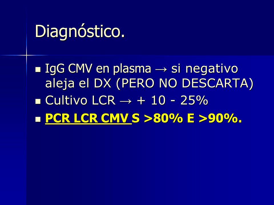 Diagnóstico. IgG CMV en plasma si negativo aleja el DX (PERO NO DESCARTA) IgG CMV en plasma si negativo aleja el DX (PERO NO DESCARTA) Cultivo LCR + 1