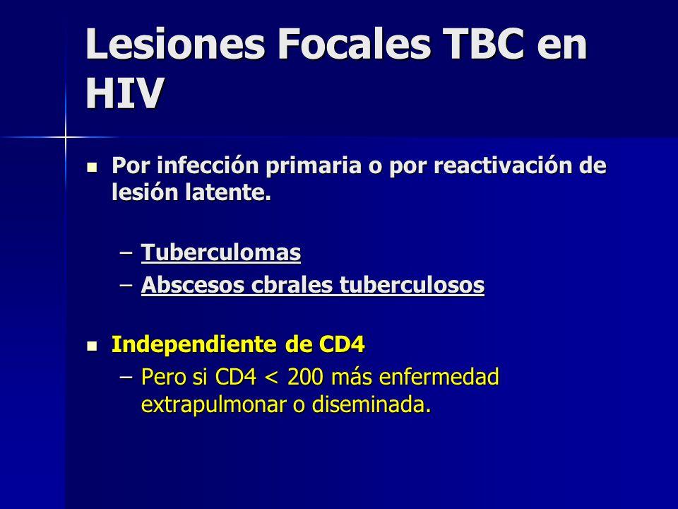 Lesiones Focales TBC en HIV Por infección primaria o por reactivación de lesión latente. Por infección primaria o por reactivación de lesión latente.