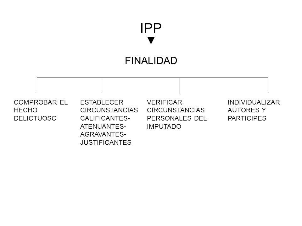 IPP FINALIDAD COMPROBAR EL HECHO DELICTUOSO ESTABLECER CIRCUNSTANCIAS CALIFICANTES- ATENUANTES- AGRAVANTES- JUSTIFICANTES VERIFICAR CIRCUNSTANCIAS PER
