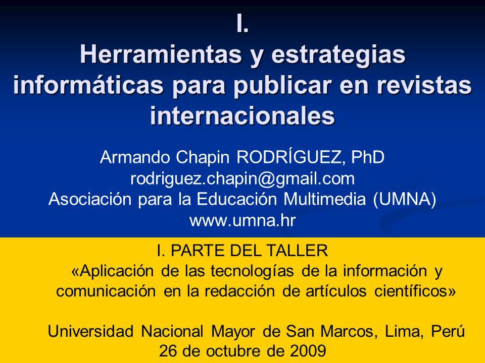 I. Herramientas y estrategias informáticas para publicar en revistas internacionales I.