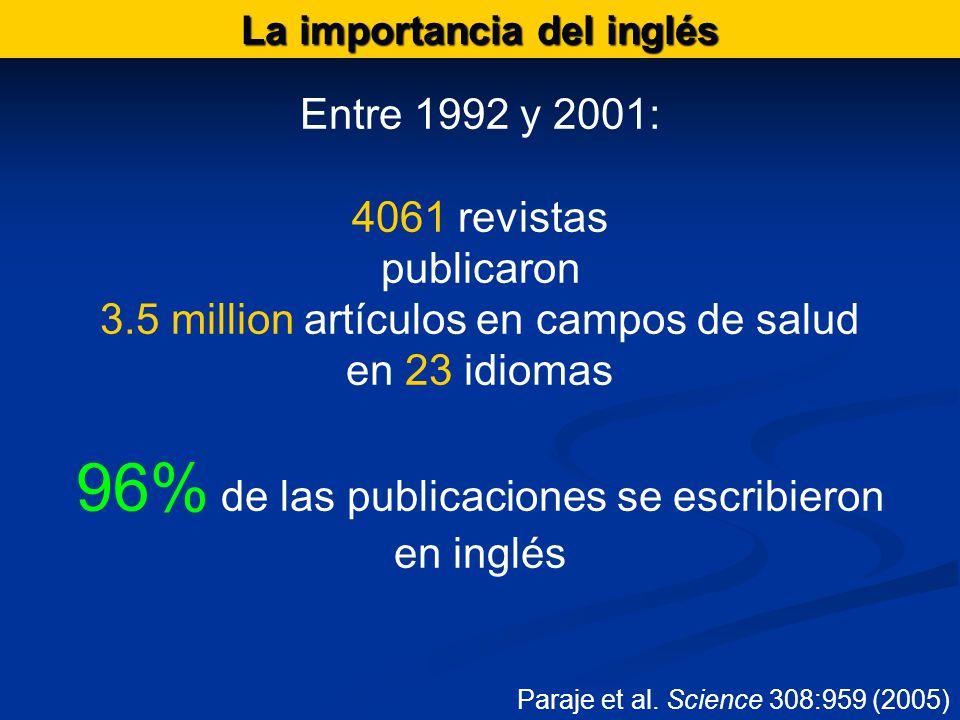 La importancia del inglés Entre 1992 y 2001: 4061 revistas publicaron 3.5 million artículos en campos de salud en 23 idiomas 96% de las publicaciones se escribieron en inglés Paraje et al.