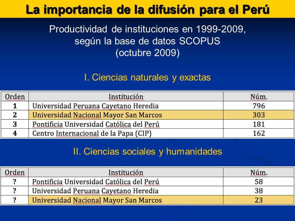 La importancia de la difusión para el Perú Productividad de instituciones en 1999-2009, según la base de datos SCOPUS (octubre 2009) I.