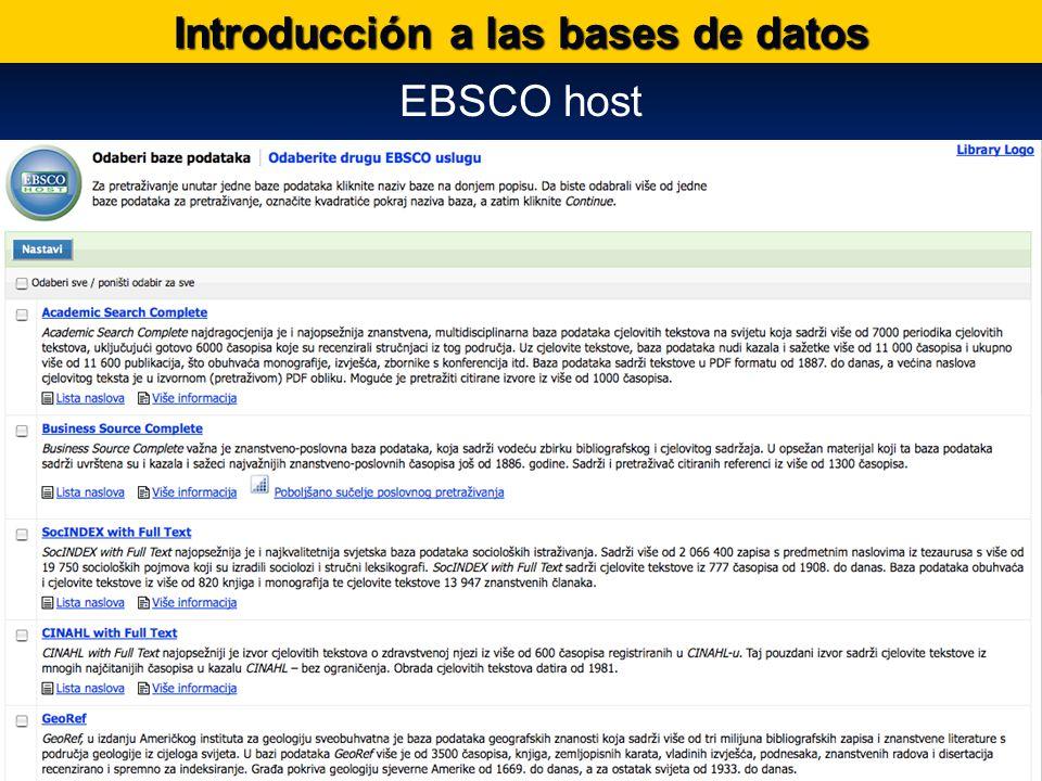 Bases de datos internacionales Introducción a las bases de datos EBSCO host