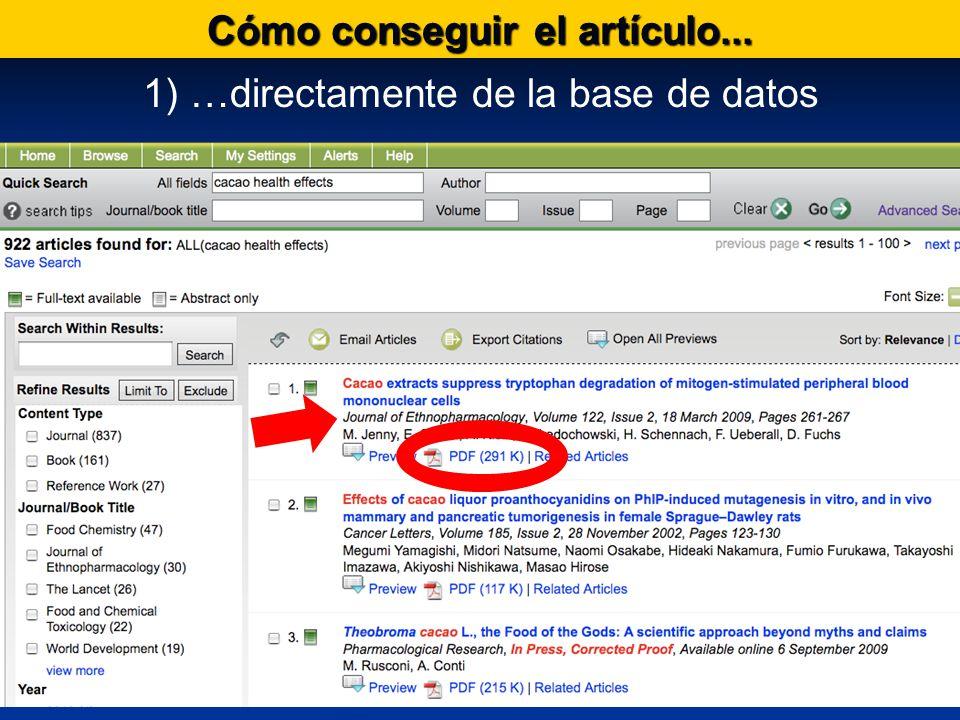 Cómo conseguir el artículo... 1) …directamente de la base de datos