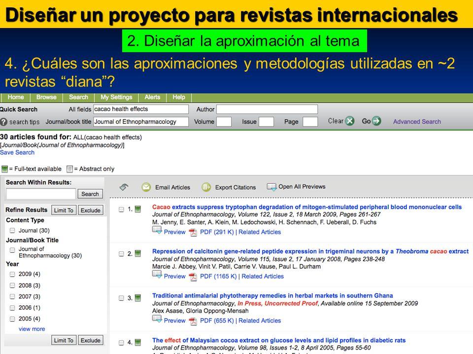 Diseñar un proyecto para revistas internacionales 4.