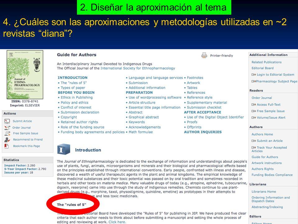 4. ¿Cuáles son las aproximaciones y metodologías utilizadas en ~2 revistas diana.