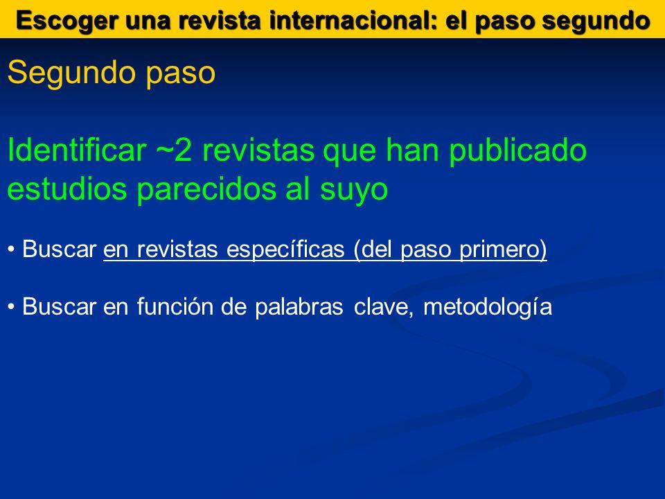 Segundo paso Identificar ~2 revistas que han publicado estudios parecidos al suyo Buscar en revistas específicas (del paso primero) Buscar en función de palabras clave, metodología Escoger una revista internacional: el paso segundo