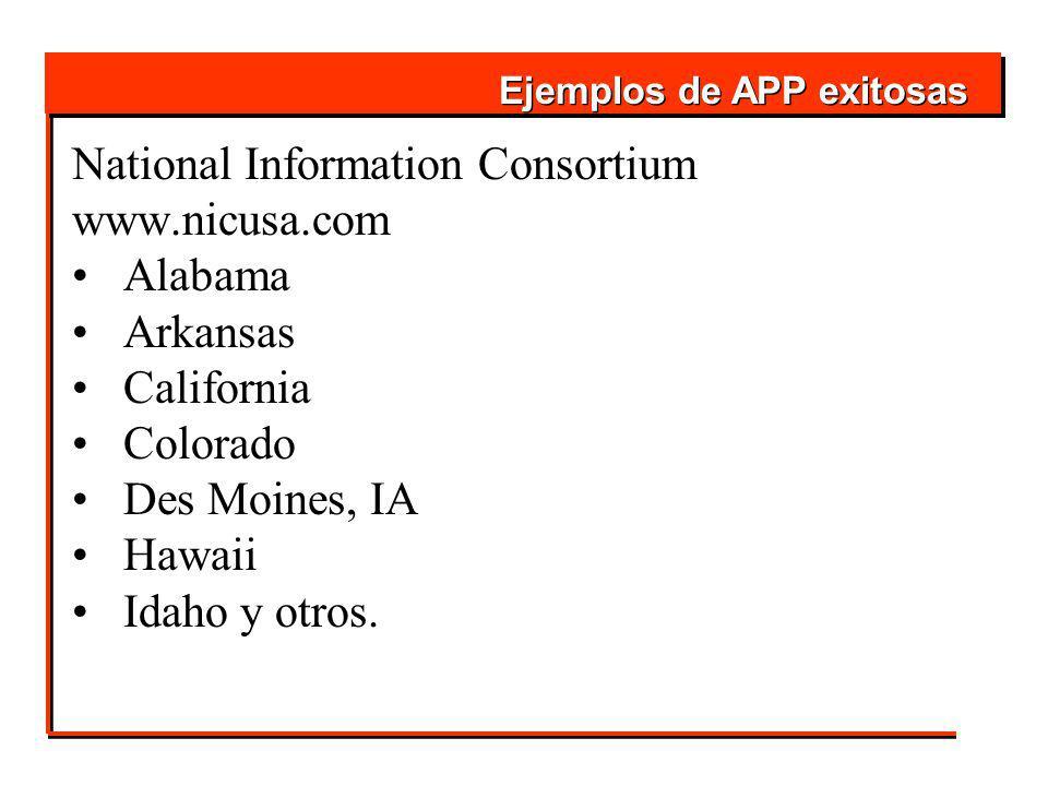 National Information Consortium www.nicusa.com Alabama Arkansas California Colorado Des Moines, IA Hawaii Idaho y otros.