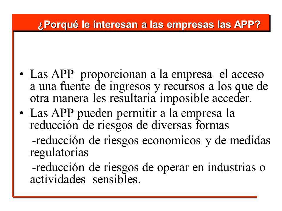 Las APP proporcionan a la empresa el acceso a una fuente de ingresos y recursos a los que de otra manera les resultaria imposible acceder.