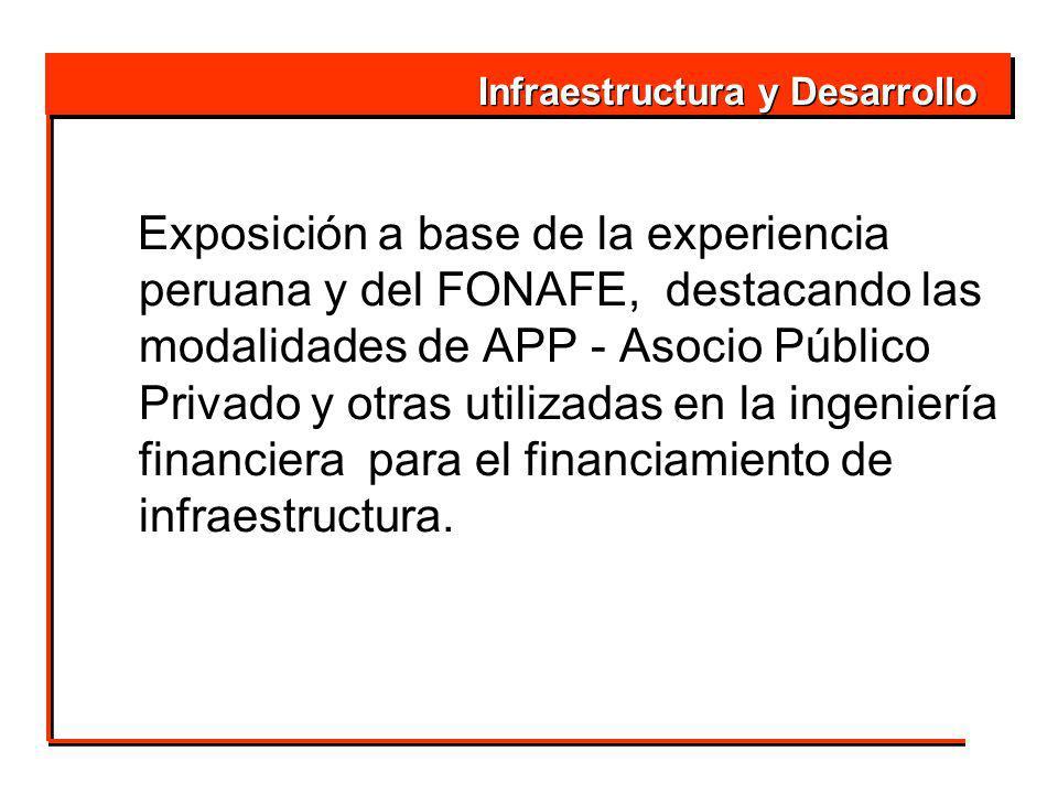 Exposición a base de la experiencia peruana y del FONAFE, destacando las modalidades de APP - Asocio Público Privado y otras utilizadas en la ingeniería financiera para el financiamiento de infraestructura.