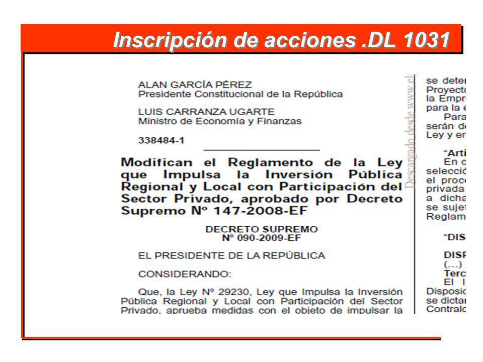 Inscripción de acciones.DL 1031