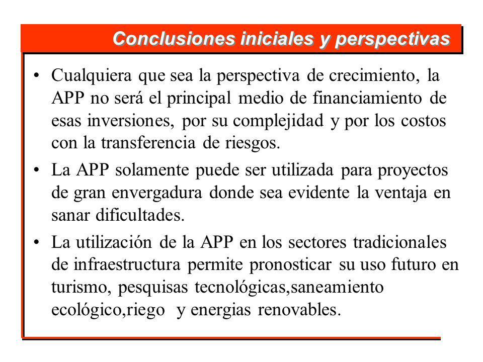 Conclusiones iniciales y perspectivas Cualquiera que sea la perspectiva de crecimiento, la APP no será el principal medio de financiamiento de esas inversiones, por su complejidad y por los costos con la transferencia de riesgos.
