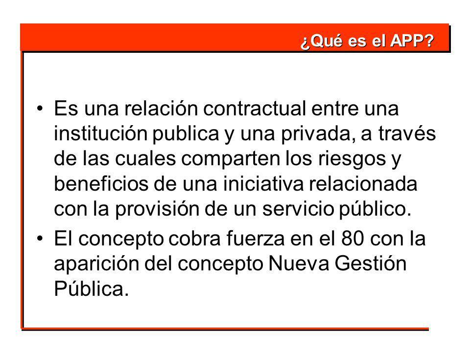 Es una relación contractual entre una institución publica y una privada, a través de las cuales comparten los riesgos y beneficios de una iniciativa relacionada con la provisión de un servicio público.