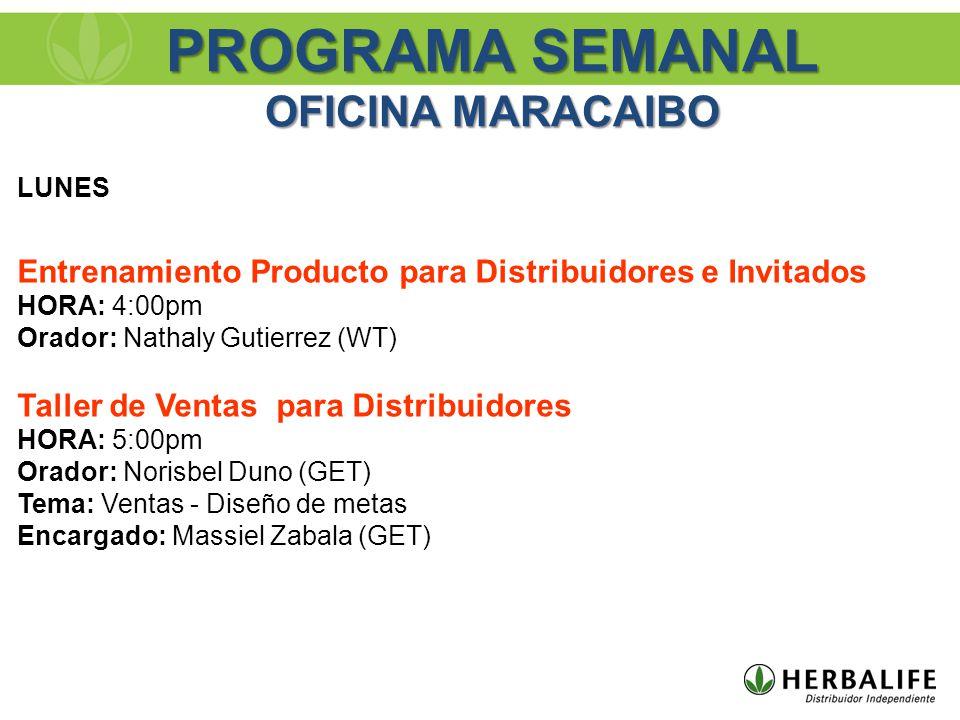 PROGRAMA SEMANAL OFICINA MARACAIBO LUNES Entrenamiento Producto para Distribuidores e Invitados HORA: 4:00pm Orador: Nathaly Gutierrez (WT) Taller de Ventas para Distribuidores HORA: 5:00pm Orador: Norisbel Duno (GET) Tema: Ventas - Diseño de metas Encargado: Massiel Zabala (GET)