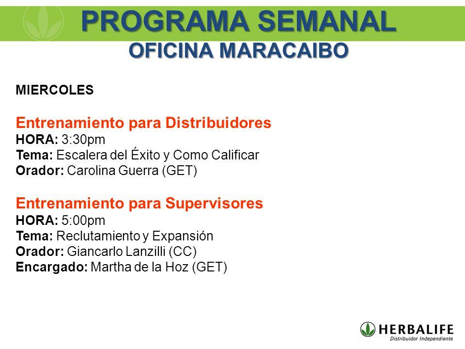 MIERCOLES Entrenamiento para Distribuidores HORA: 3:30pm Tema: Escalera del Éxito y Como Calificar Orador: Carolina Guerra (GET) Entrenamiento para Su