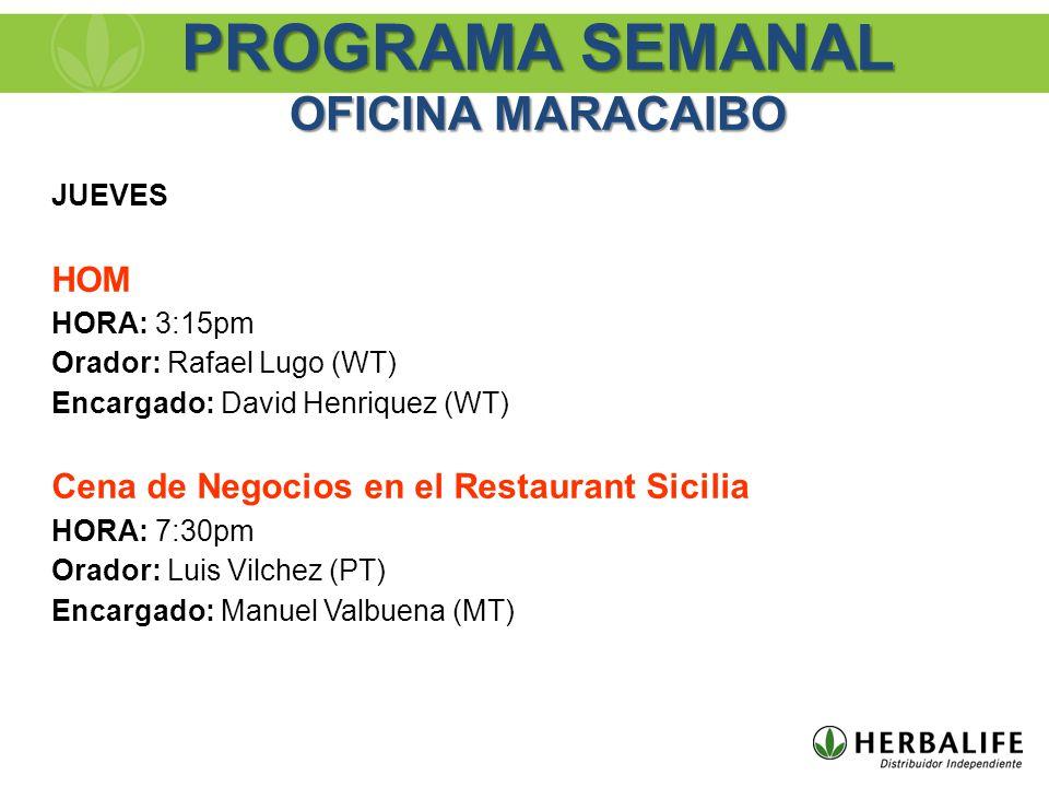JUEVES HOM HORA: 3:15pm Orador: Rafael Lugo (WT) Encargado: David Henriquez (WT) Cena de Negocios en el Restaurant Sicilia HORA: 7:30pm Orador: Luis V