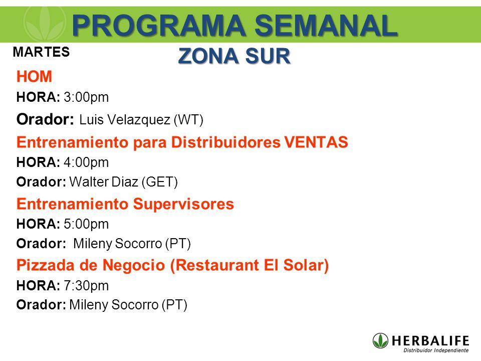 HOM HORA: 3:00pm Orador: Luis Velazquez (WT) Entrenamiento para Distribuidores VENTAS HORA: 4:00pm Orador: Walter Diaz (GET) Entrenamiento Supervisores HORA: 5:00pm Orador: Mileny Socorro (PT) Pizzada de Negocio (Restaurant El Solar) HORA: 7:30pm Orador: Mileny Socorro (PT) MARTES PROGRAMA SEMANAL ZONA SUR