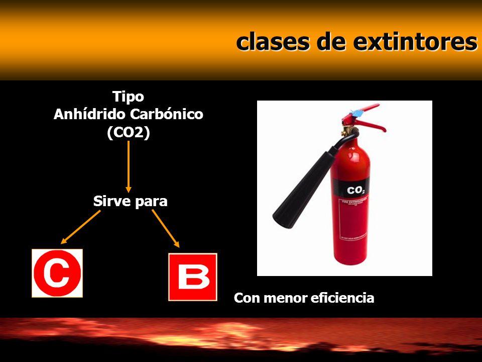 clases de extintores clases de extintores Tipo Anhídrido Carbónico (CO2) Sirve para Con menor eficiencia