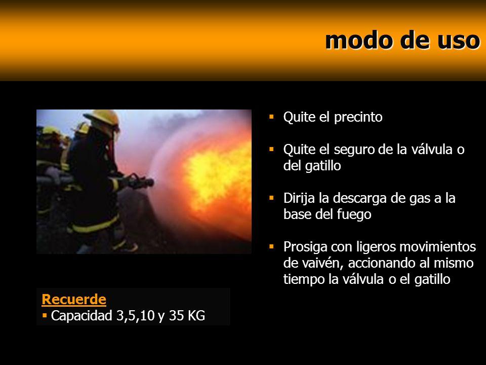modo de uso modo de uso Quite el precinto Quite el seguro de la válvula o del gatillo Dirija la descarga de gas a la base del fuego Prosiga con ligero