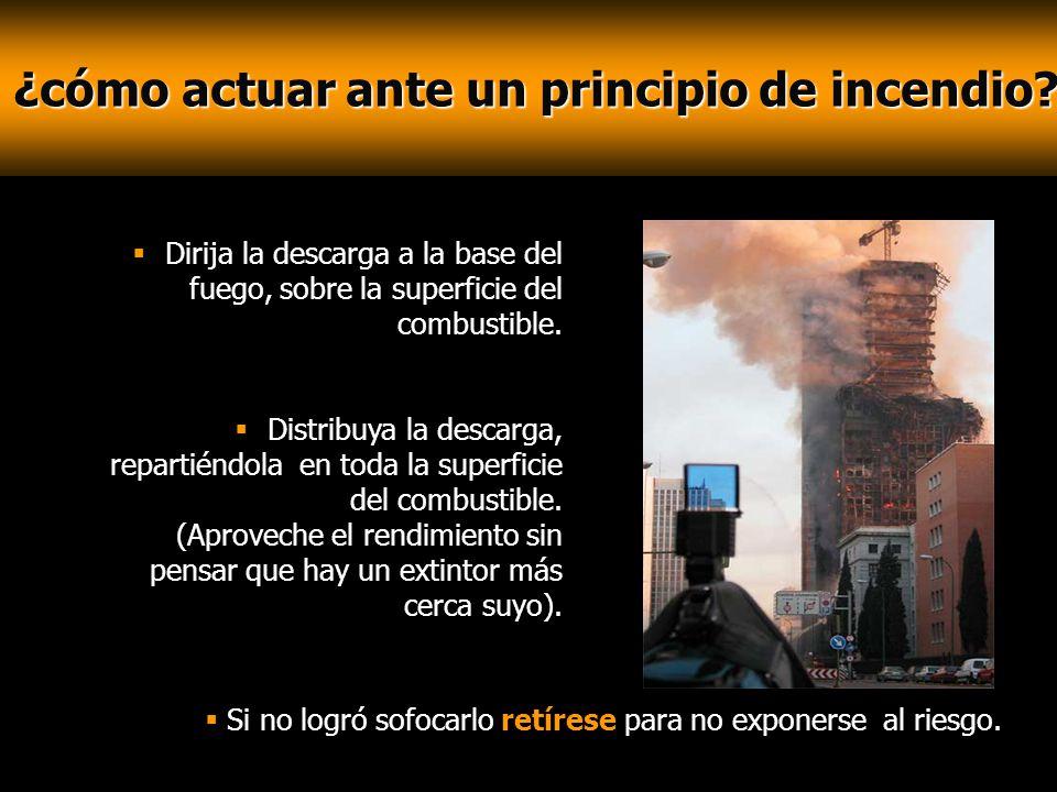 ¿cómo actuar ante un principio de incendio? ¿cómo actuar ante un principio de incendio? Dirija la descarga a la base del fuego, sobre la superficie de