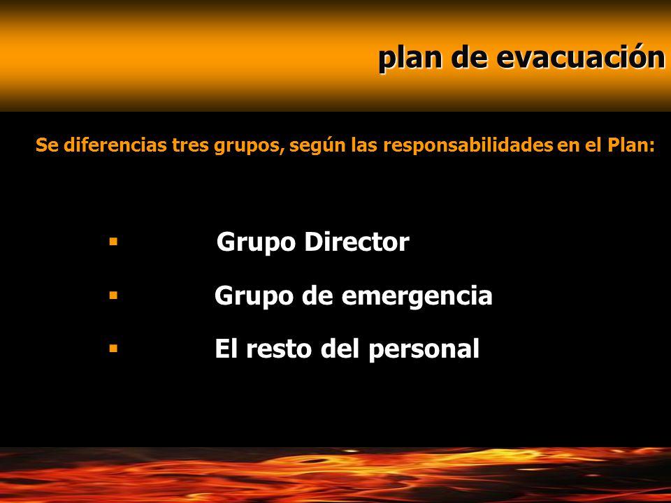 plan de evacuación plan de evacuación Se diferencias tres grupos, según las responsabilidades en el Plan: Grupo Director Grupo de emergencia El resto