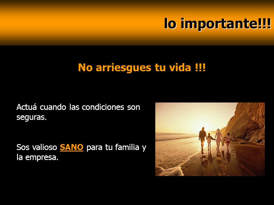 lo importante!!! lo importante!!! No arriesgues tu vida !!! Actuá cuando las condiciones son seguras. Sos valioso SANO para tu familia y la empresa.