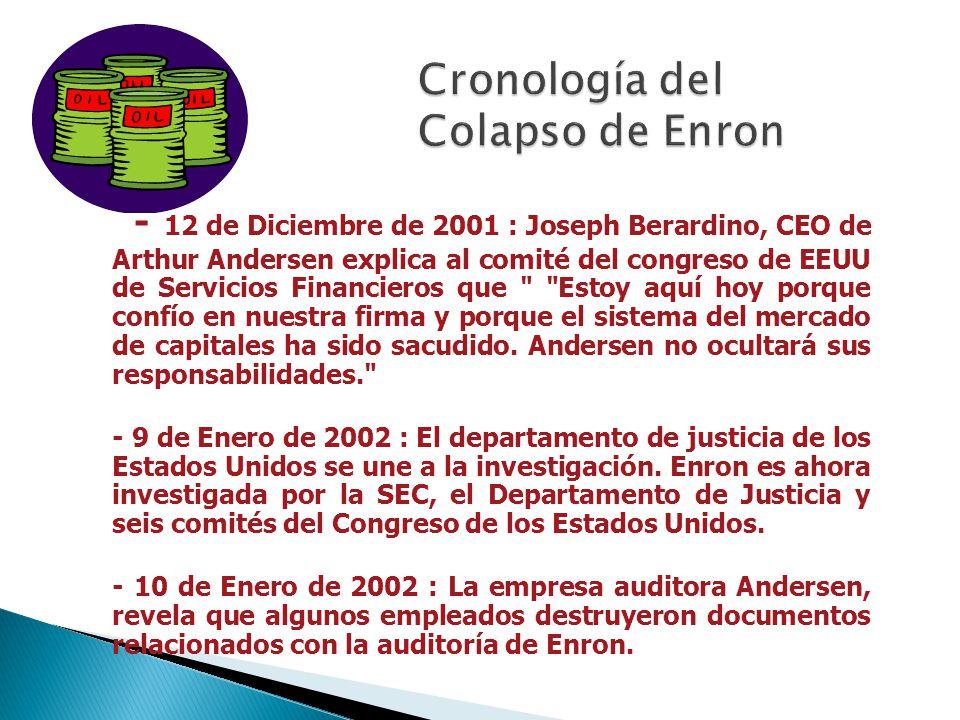 - 8 de Noviembre de 2001 : Enron es forzada a reestructurar sus resultados desde el año 1997, disminuyendo los mismos en 529 millones de dólares o 20%