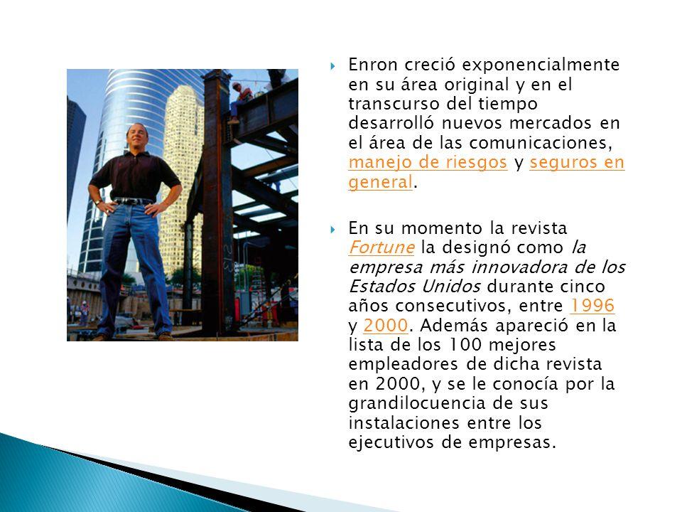 Enron se constituyó en 1985 por la fusión de las empresas Houston Natural Gas e InterNorth, la fusión fue dirigida por Kenneth Lay, presidente de Hous