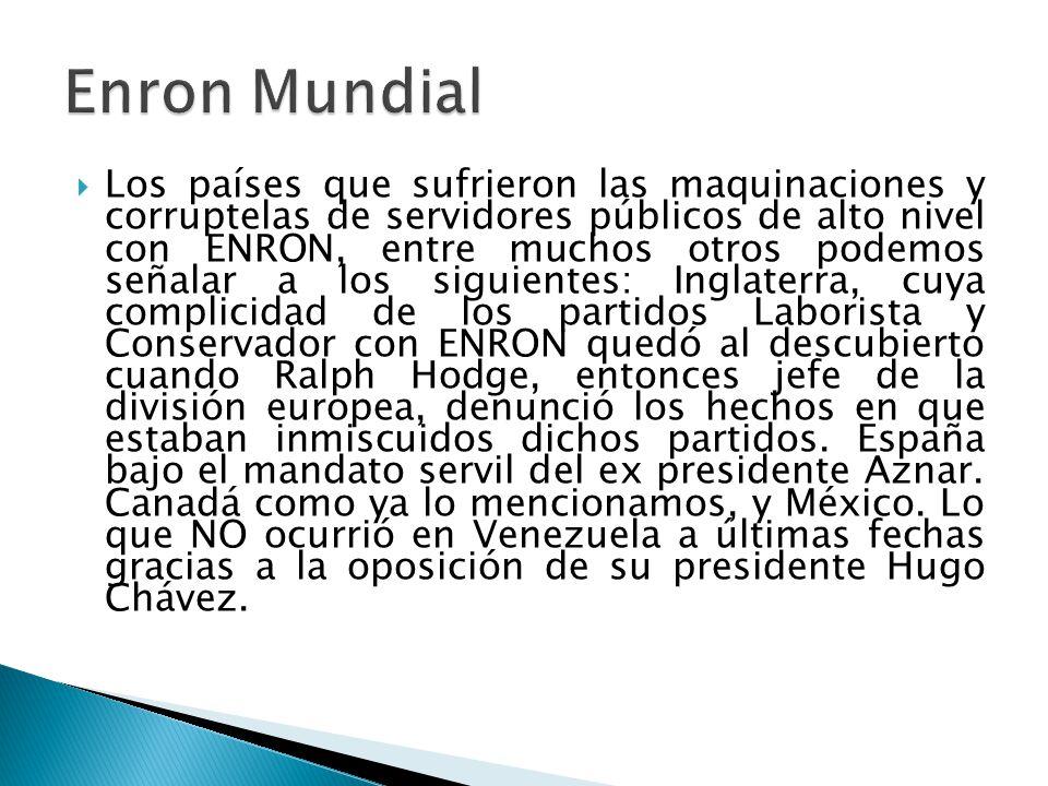 El senador Rodolfo Terragno denunció en la prensa que sufrió presión de ENRON para un proyecto en ese país, cuando era ministro de Obras Públicas dura