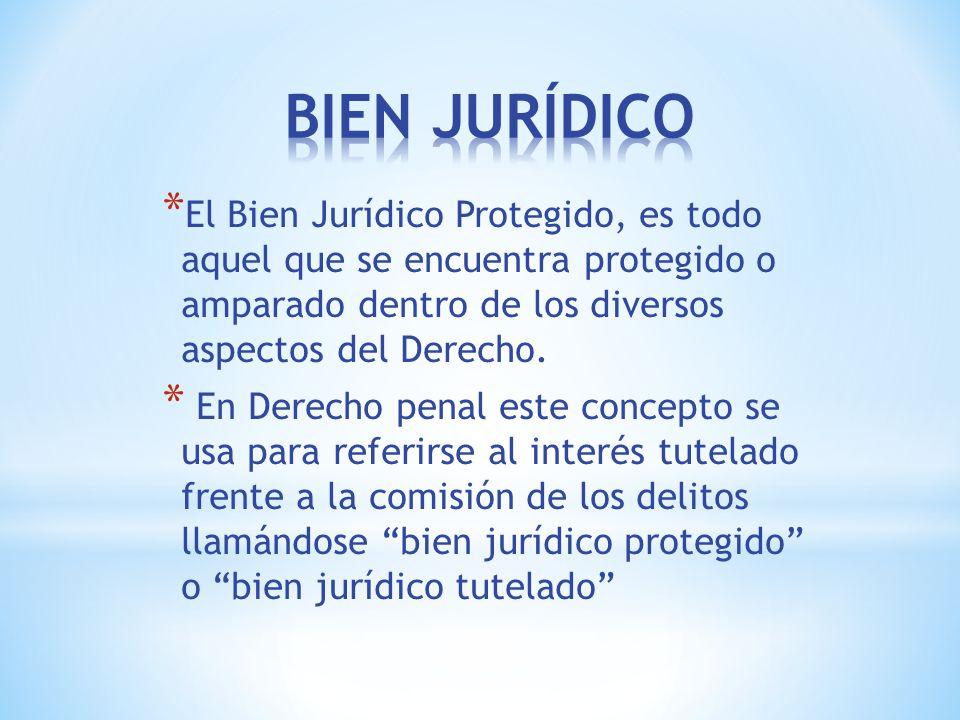 * El Bien Jurídico Protegido, es todo aquel que se encuentra protegido o amparado dentro de los diversos aspectos del Derecho.