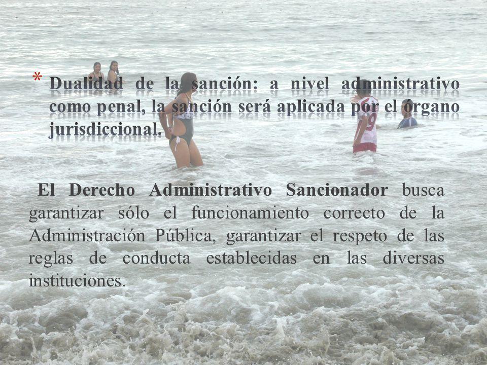El Derecho Administrativo Sancionador busca garantizar sólo el funcionamiento correcto de la Administración Pública, garantizar el respeto de las reglas de conducta establecidas en las diversas instituciones.