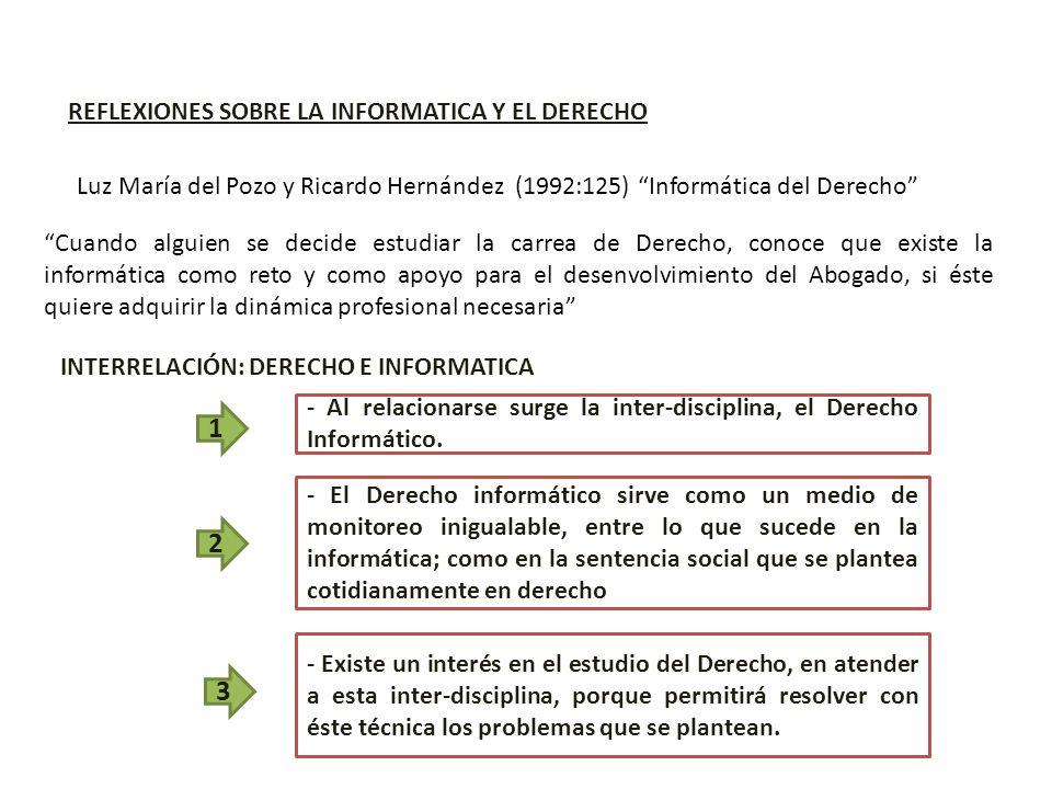 REFLEXIONES SOBRE LA INFORMATICA Y EL DERECHO Luz María del Pozo y Ricardo Hernández (1992:125) Informática del Derecho Cuando alguien se decide estud