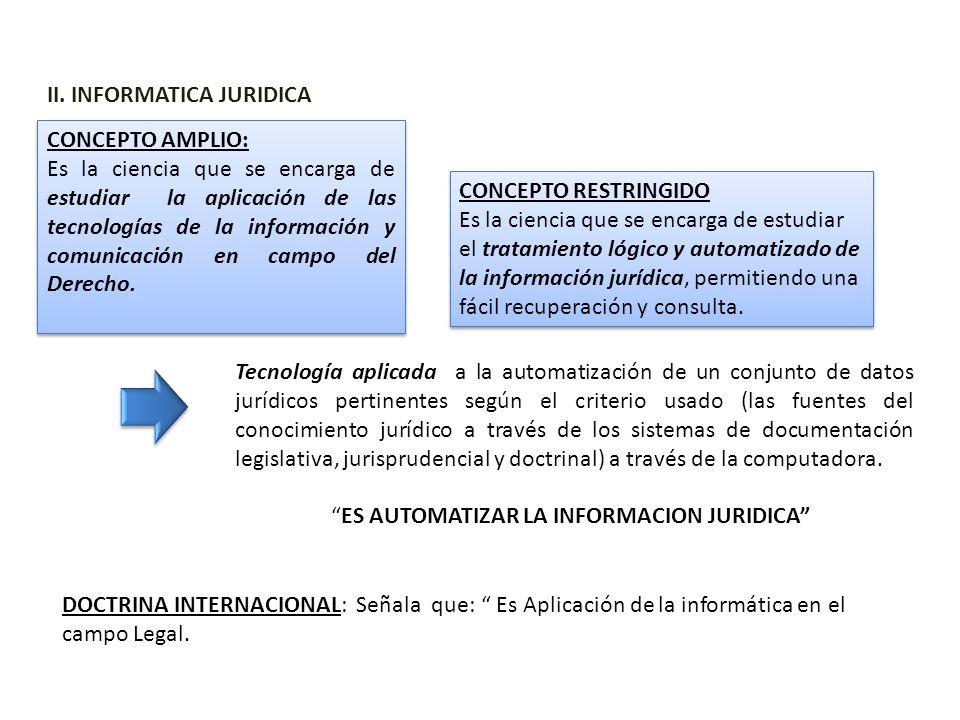 II. INFORMATICA JURIDICA Tecnología aplicada a la automatización de un conjunto de datos jurídicos pertinentes según el criterio usado (las fuentes de