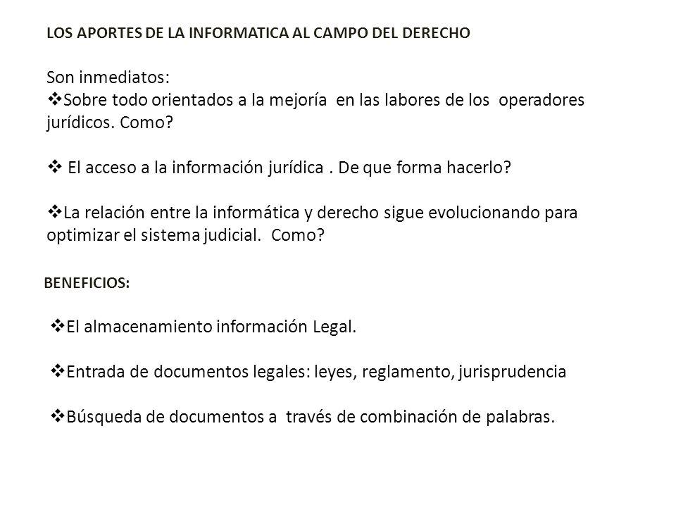 El almacenamiento información Legal. Entrada de documentos legales: leyes, reglamento, jurisprudencia Búsqueda de documentos a través de combinación d