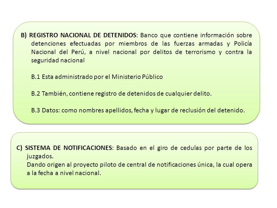 B) REGISTRO NACIONAL DE DETENIDOS: Banco que contiene información sobre detenciones efectuadas por miembros de las fuerzas armadas y Policía Nacional