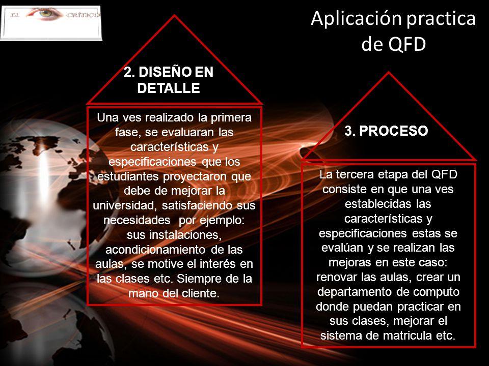 Aplicación practica de QFD Una ves realizado la primera fase, se evaluaran las características y especificaciones que los estudiantes proyectaron que