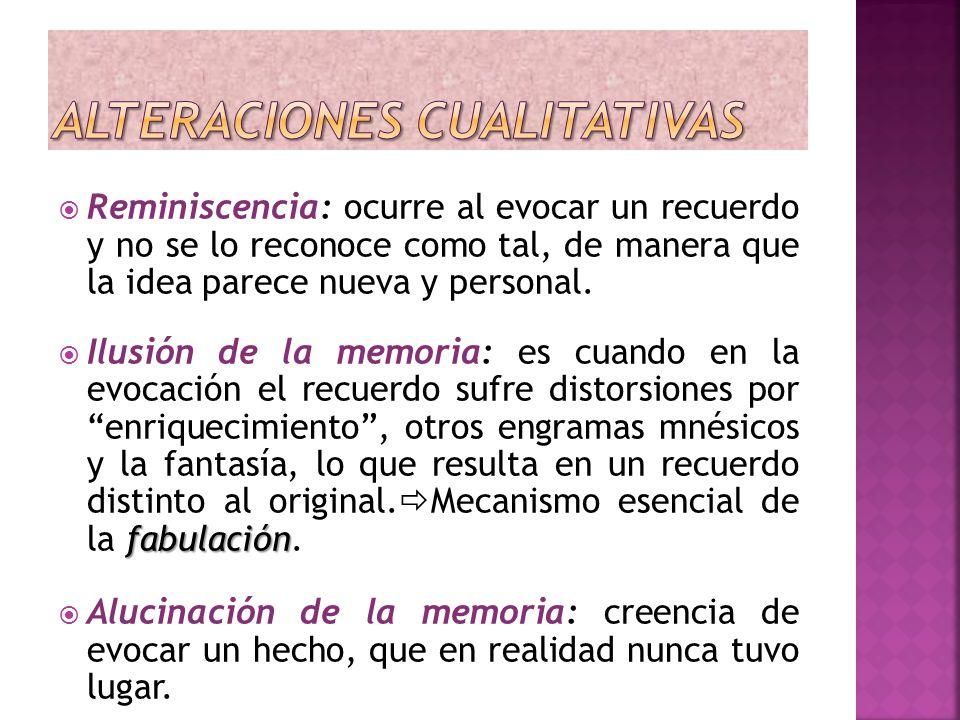 Reminiscencia: ocurre al evocar un recuerdo y no se lo reconoce como tal, de manera que la idea parece nueva y personal. fabulación Ilusión de la memo