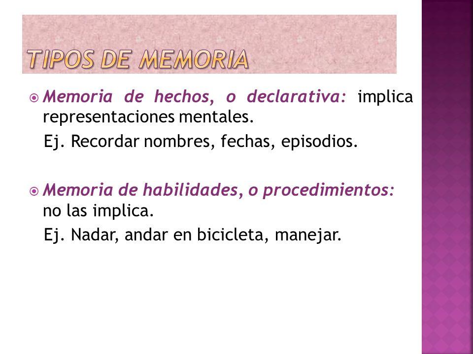 Memoria de hechos, o declarativa: implica representaciones mentales. Ej. Recordar nombres, fechas, episodios. Memoria de habilidades, o procedimientos