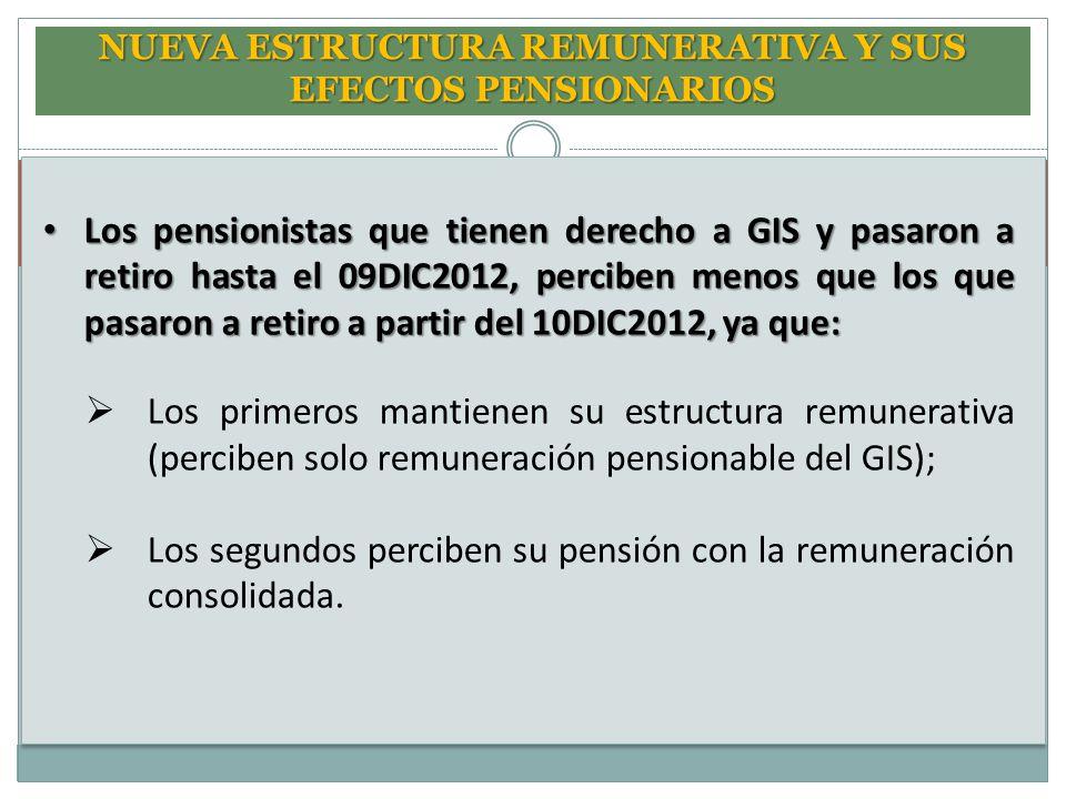 NUEVA ESTRUCTURA REMUNERATIVA Y SUS EFECTOS PENSIONARIOS Los pensionistas que tienen derecho a GIS y pasaron a retiro hasta el 09DIC2012, perciben men