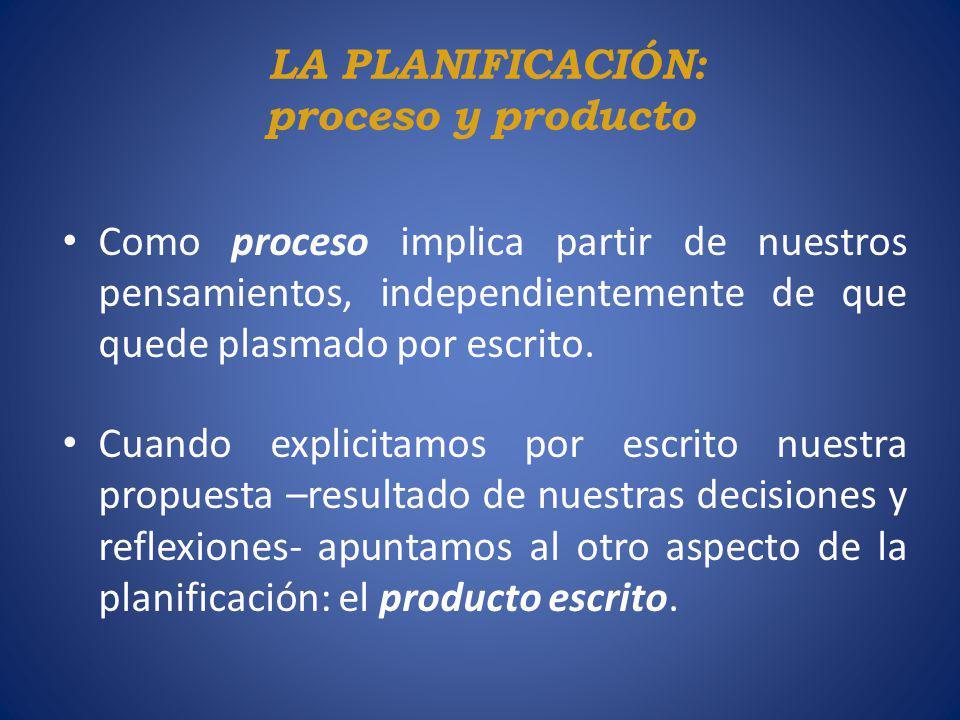 LA PLANIFICACIÓN: proceso y producto Como proceso implica partir de nuestros pensamientos, independientemente de que quede plasmado por escrito. Cuand