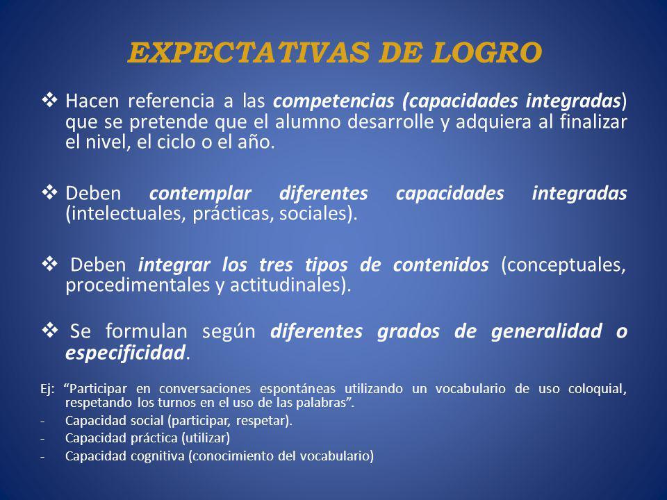 EXPECTATIVAS DE LOGRO Hacen referencia a las competencias (capacidades integradas) que se pretende que el alumno desarrolle y adquiera al finalizar el