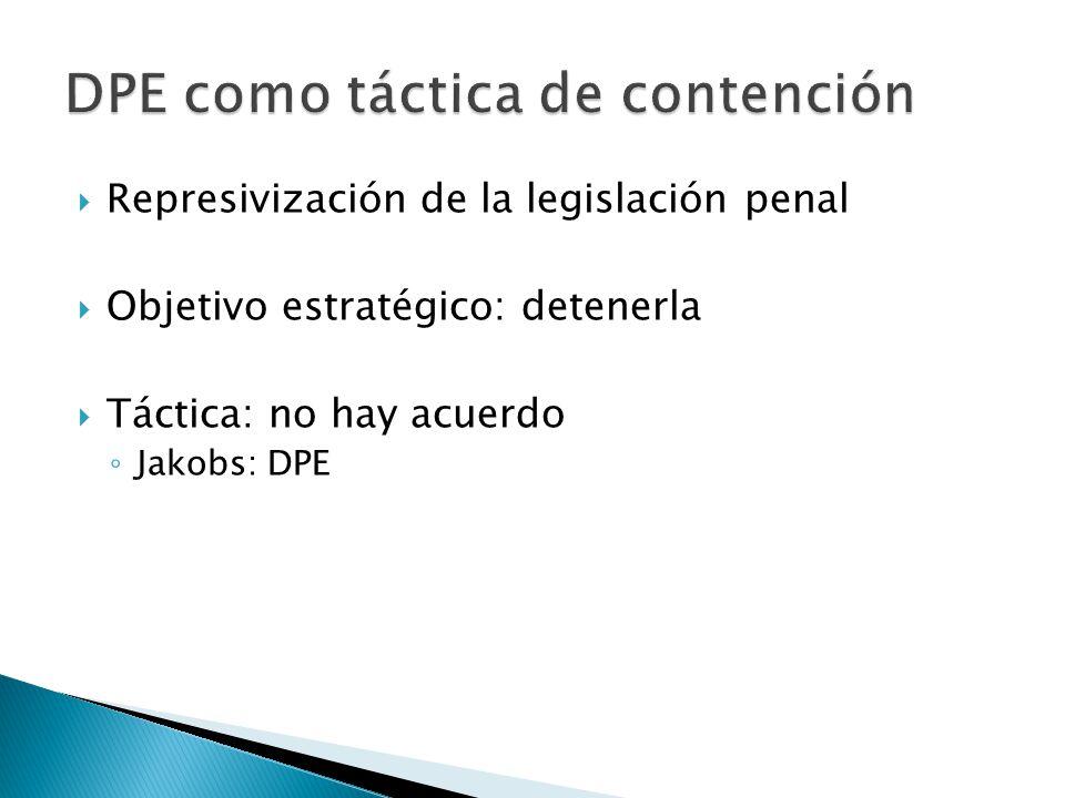 Represivización de la legislación penal Objetivo estratégico: detenerla Táctica: no hay acuerdo Jakobs: DPE