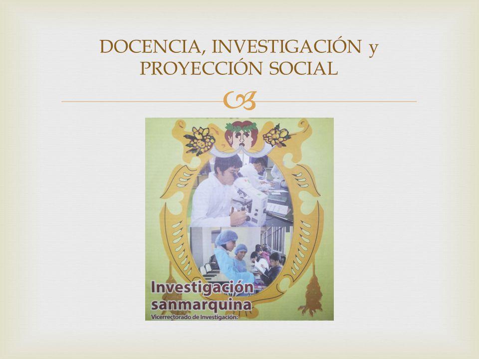 DOCENCIA, INVESTIGACIÓN y PROYECCIÓN SOCIAL