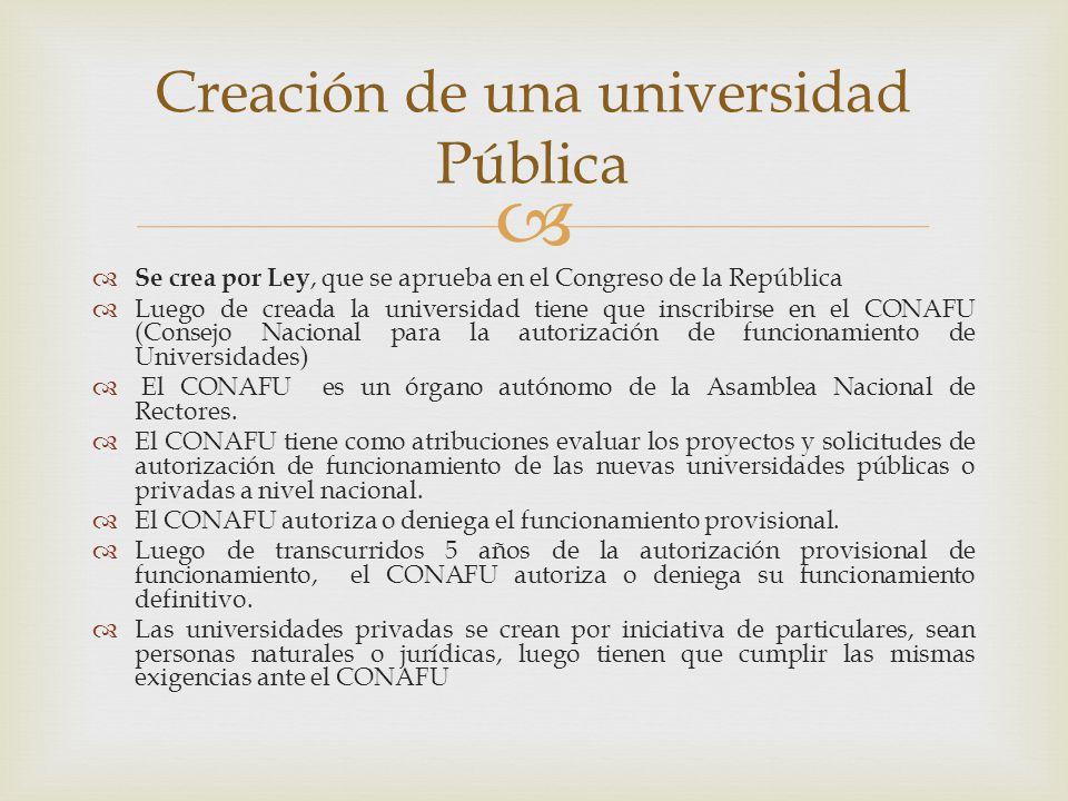 Se crea por Ley, que se aprueba en el Congreso de la República Luego de creada la universidad tiene que inscribirse en el CONAFU (Consejo Nacional para la autorización de funcionamiento de Universidades) El CONAFU es un órgano autónomo de la Asamblea Nacional de Rectores.