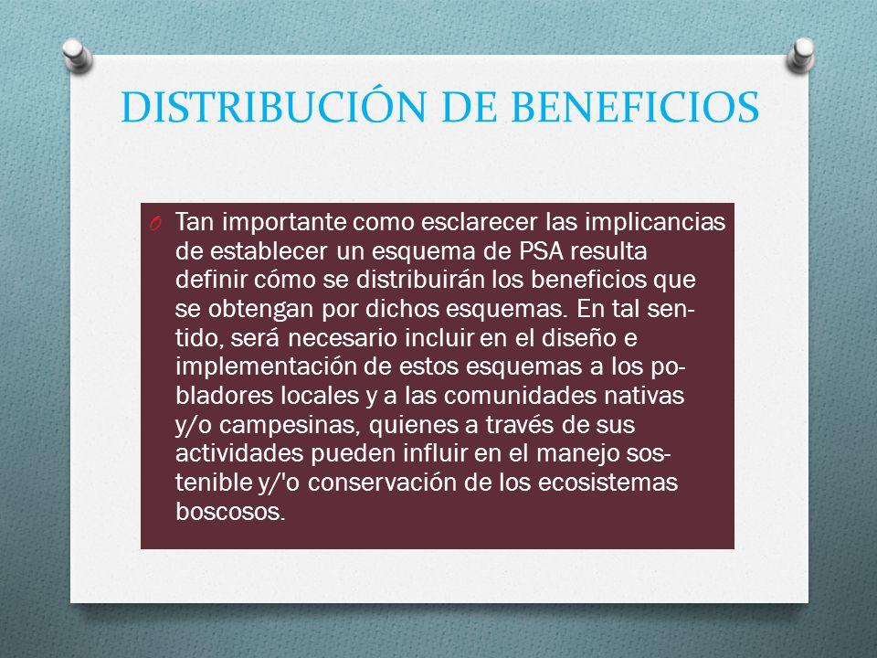 DISTRIBUCIÓN DE BENEFICIOS O Tan importante como esclarecer las implicancias de establecer un esquema de PSA resulta definir cómo se distribuirán los