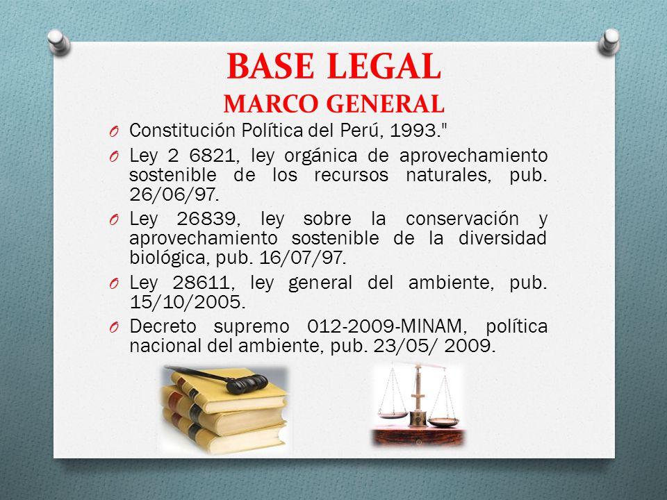 BASE LEGAL MARCO GENERAL O Constitución Política del Perú, 1993.