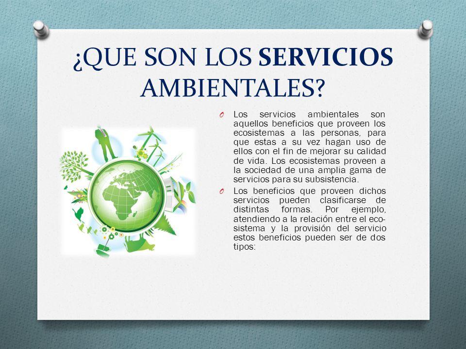 ¿QUE SON LOS SERVICIOS AMBIENTALES? O Los servicios ambientales son aquellos beneficios que proveen los ecosistemas a las personas, para que estas a