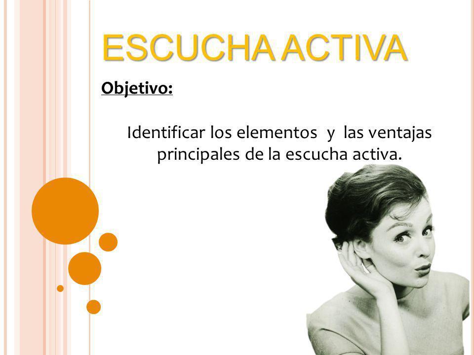 ESCUCHA ACTIVA Objetivo: Identificar los elementos y las ventajas principales de la escucha activa.